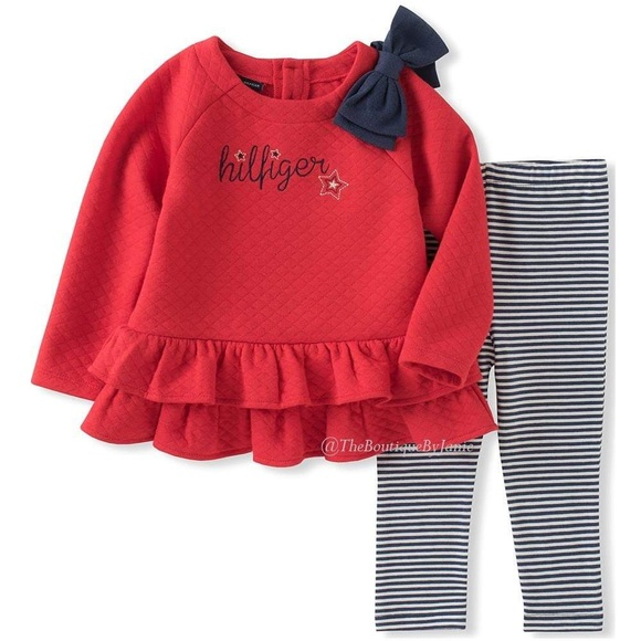 Tommy Hilfiger Other - Tommy Hilfiger Red Ruffle Tunic & Stripe Leggings